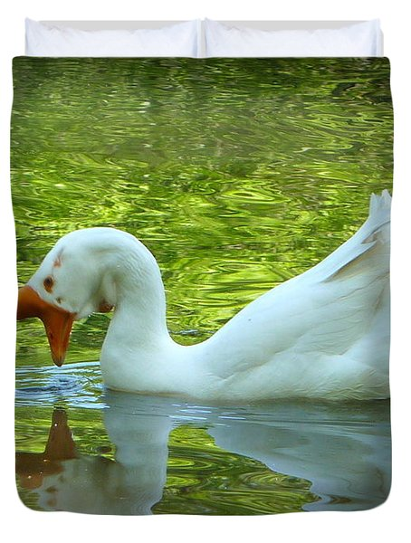 White Chinese Goose Curtsy  Duvet Cover