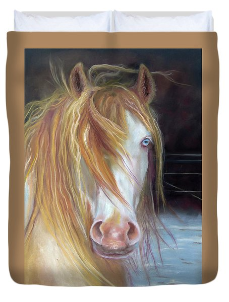 Duvet Cover featuring the painting White Chocolate Stallion by Karen Kennedy Chatham