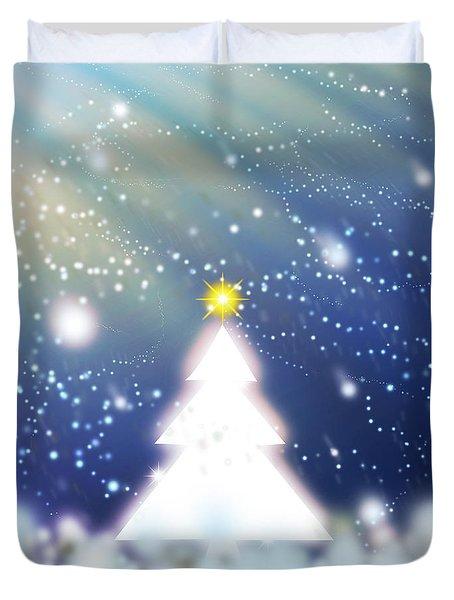 White Christmas Tree Duvet Cover