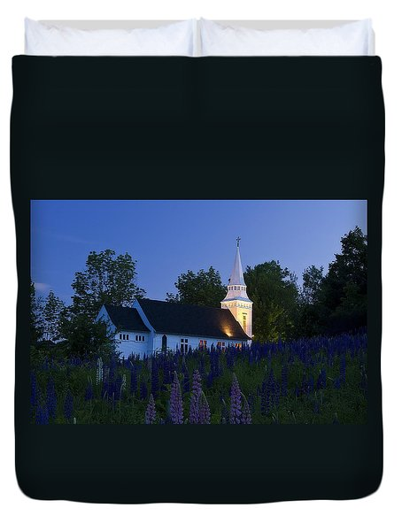 White Church At Dusk In A Field Of Lupines Duvet Cover