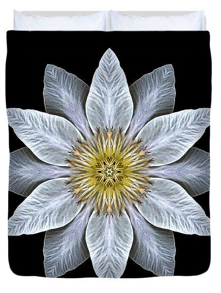 White Clematis Flower Mandala Duvet Cover
