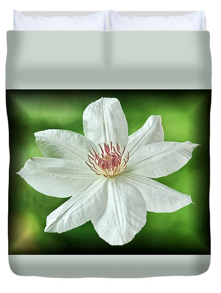 White Clematis Duvet Cover