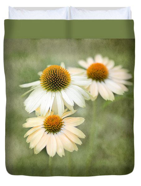 White Coneflower Trio Duvet Cover by Rebecca Cozart