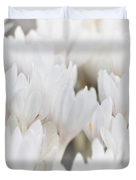 Duvet Cover featuring the photograph White Crocus Dream by Nadalyn Larsen