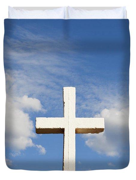 White Cross On Adobe Wall Duvet Cover