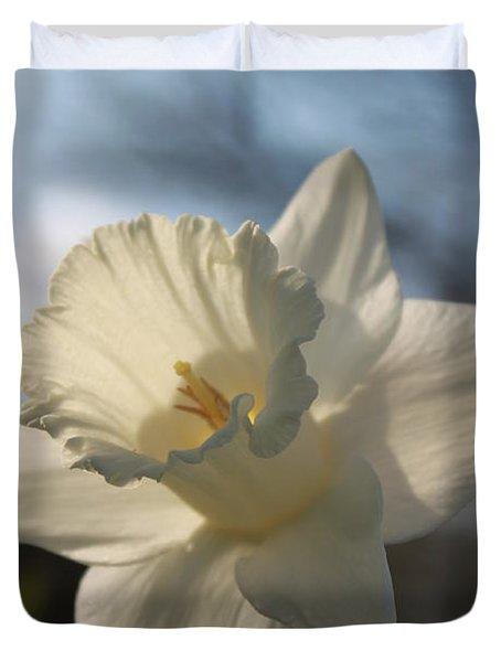White Daffodil Duvet Cover by Jennifer E Doll