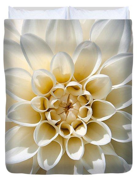Duvet Cover featuring the photograph White Dahlia by Carsten Reisinger