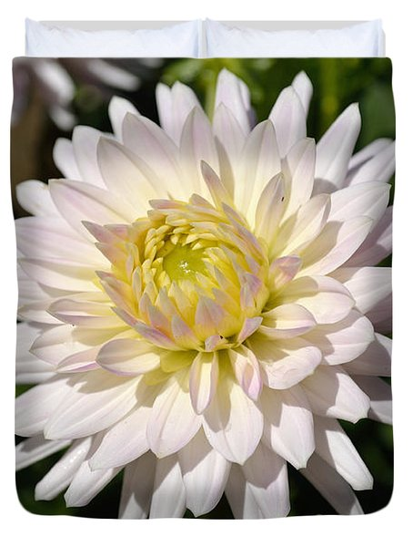 White Dahlia Flower Duvet Cover by Scott Lyons