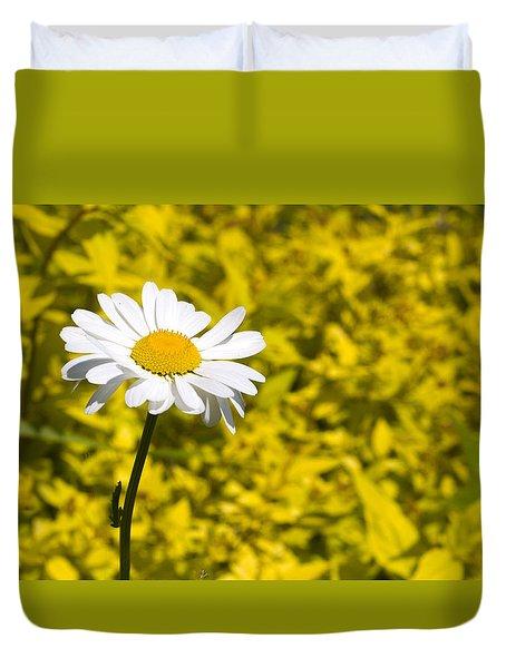 White Daisy In Yellow Garden Duvet Cover