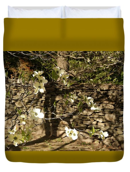 White Dogwood At The Stone Wall Duvet Cover