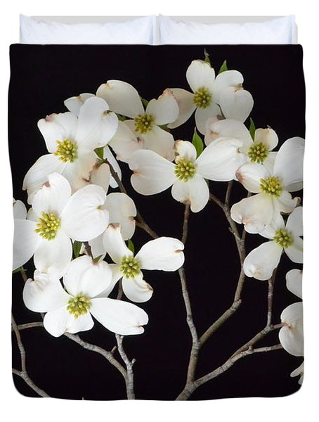 Duvet Cover featuring the photograph White Dogwood Branch by Jeannie Rhode