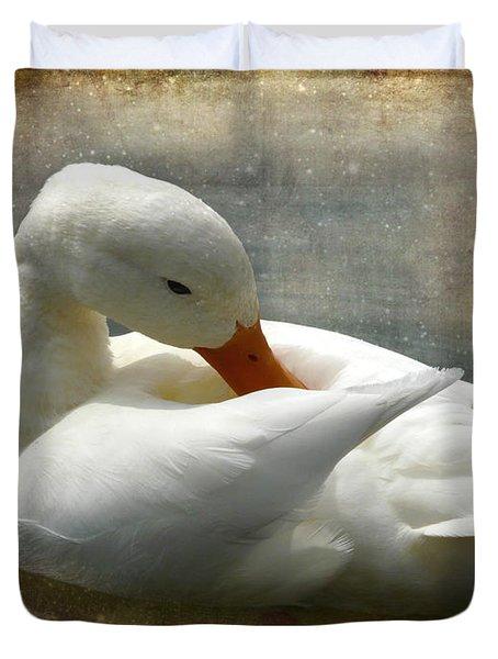 White Duck Duvet Cover by Barbara Orenya