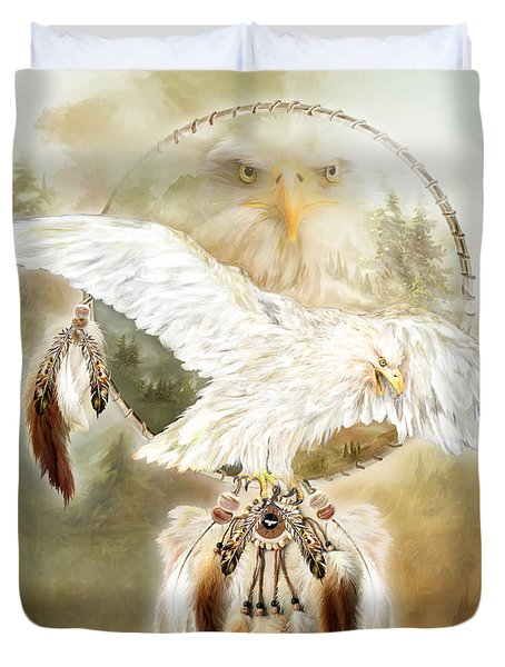 Duvet Cover featuring the mixed media White Eagle Dreams by Carol Cavalaris
