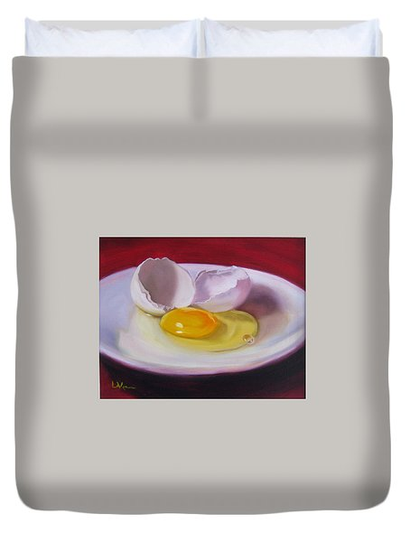 Duvet Cover featuring the painting White Egg Study by LaVonne Hand