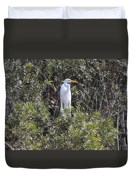 Duvet Cover featuring the photograph White Egret In The Swamp by Christiane Schulze Art And Photography