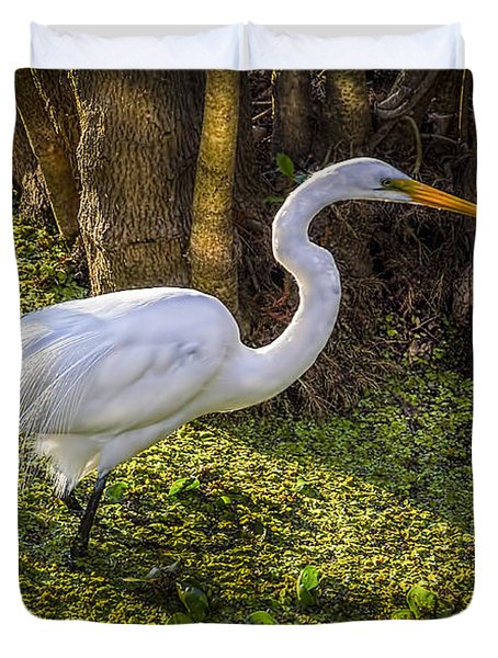 White Egret On The Hunt Duvet Cover