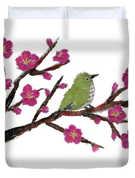 White Eye And Japanese Plum Tree Duvet Cover by Keiko Suzuki