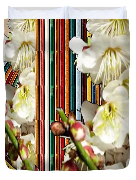 White Flower Medley Colorful Rainbow Stripes On The Backdrop Artist Navinjoshi  Duvet Cover
