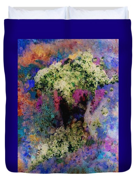 White Flowers In A Vase Duvet Cover by Lee Green