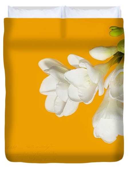 Duvet Cover featuring the photograph White Flowers On Tangerine Study by Lisa Knechtel