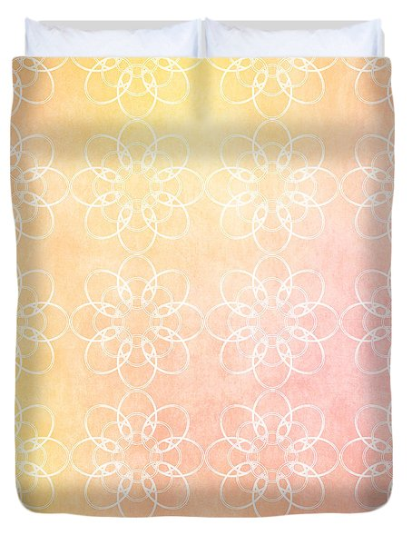 White Flowers With Warm Orange Background Duvet Cover