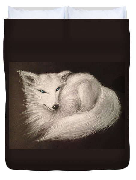 Duvet Cover featuring the drawing White Fox by Patricia Lintner