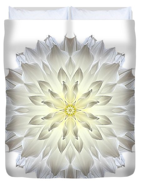 Giant White Dahlia I Flower Mandala White Duvet Cover