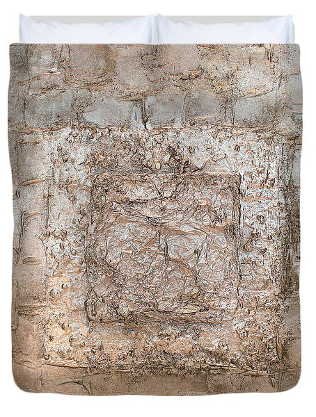 White Gold Mixed Media Triptych Part 2 Duvet Cover