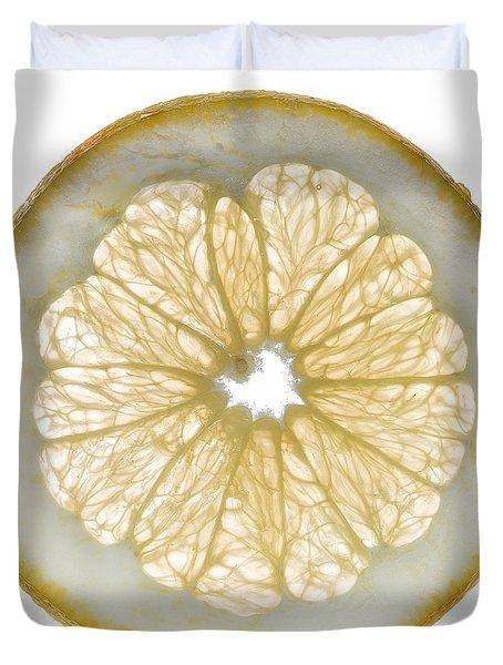 White Grapefruit Slice Duvet Cover by Steve Gadomski