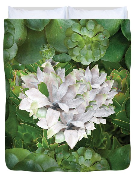 White Green Flower Duvet Cover by Alixandra Mullins