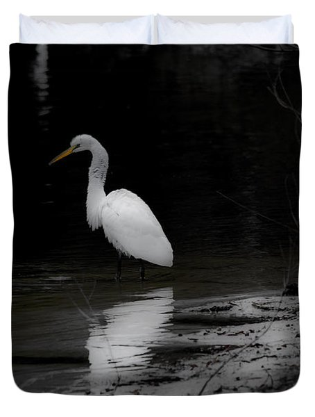 Duvet Cover featuring the photograph White Heron by Angela DeFrias
