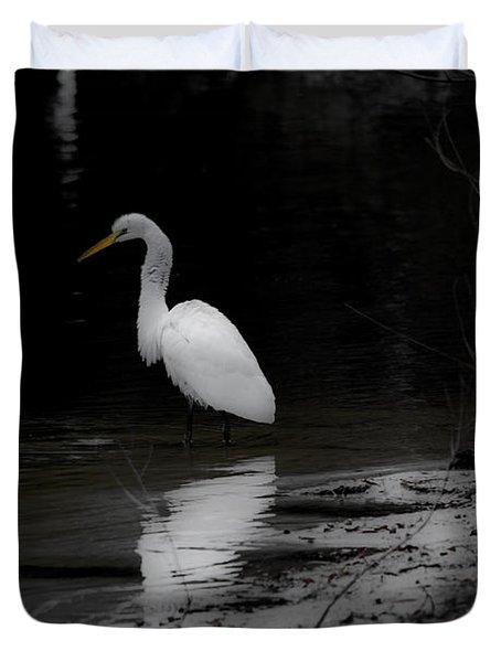 White Heron Duvet Cover by Angela DeFrias