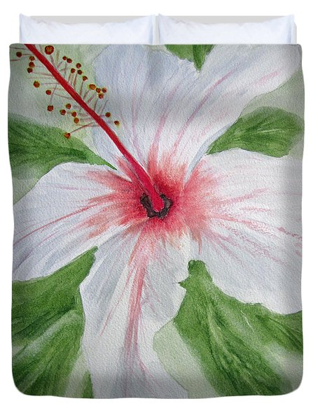 White Hibiscus Flower Duvet Cover