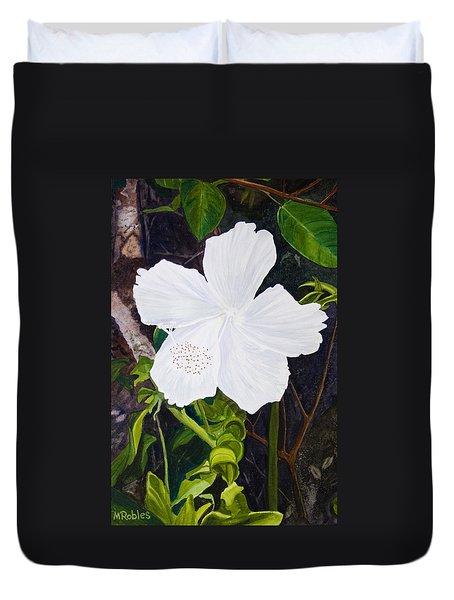 White Hibiscus Duvet Cover by Mike Robles