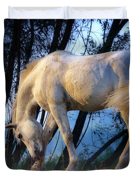 Duvet Cover featuring the photograph White Horse In The Early Evening Mist by Nick  Biemans