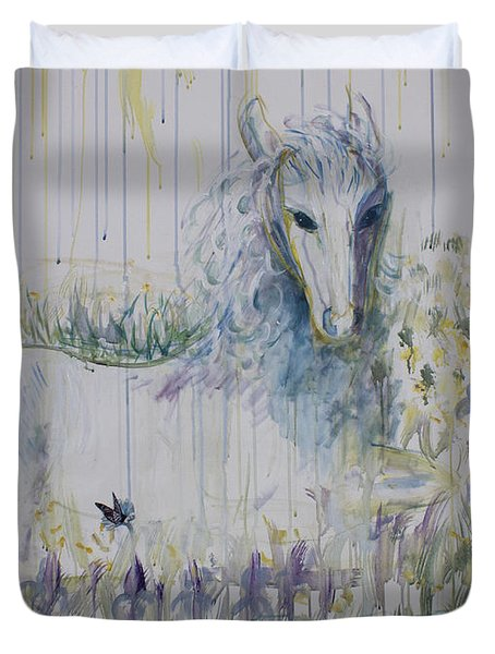 Duvet Cover featuring the painting White Horse In The Rain by Avonelle Kelsey