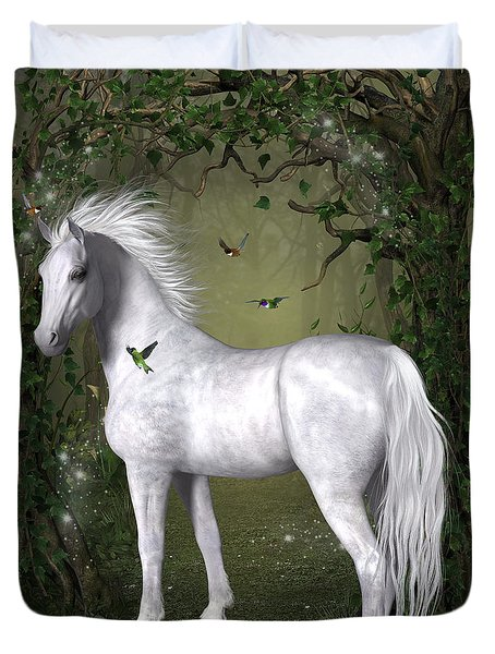 White Horse In The Woods Duvet Cover