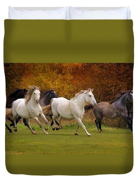 White Horse Vale Lipizzans Duvet Cover