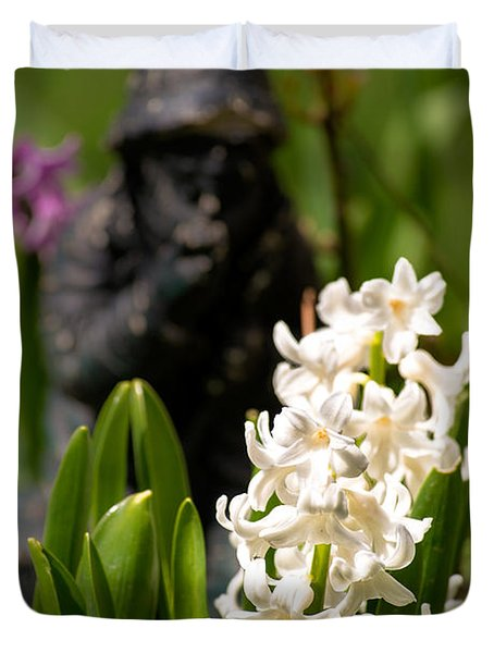 White Hyacinth In The Garden Duvet Cover by  Onyonet  Photo Studios