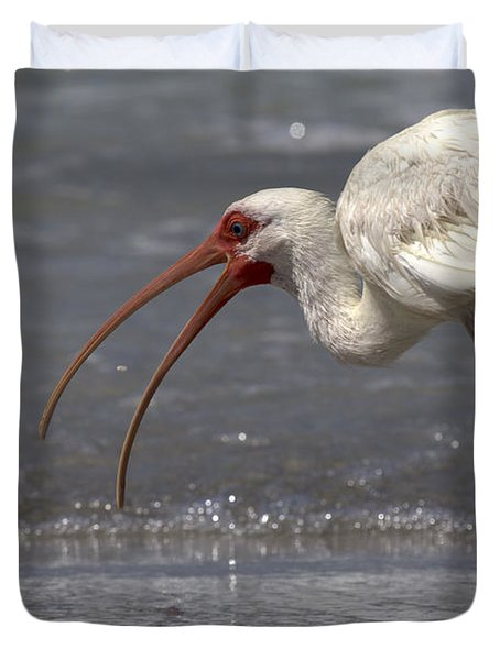 Duvet Cover featuring the photograph White Ibis On The Beach by Meg Rousher