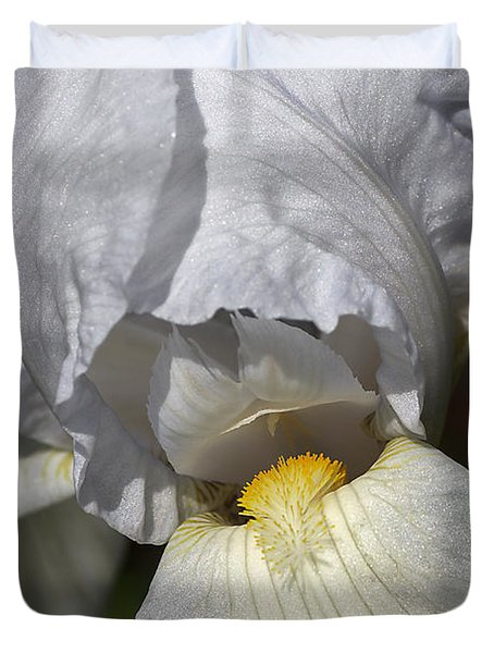 Duvet Cover featuring the photograph White Iris by Joy Watson