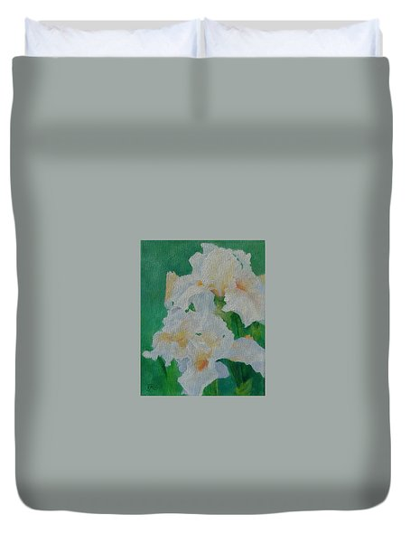 White Irises Original Oil Painting Iris Cluster Beautiful Floral Art Duvet Cover