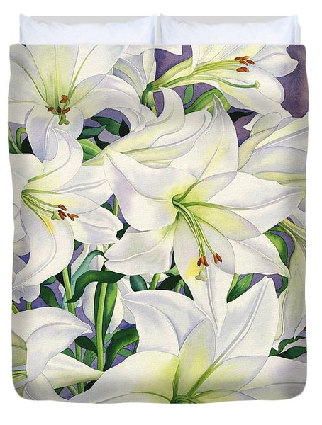 White Lilies Duvet Cover by Christopher Ryland