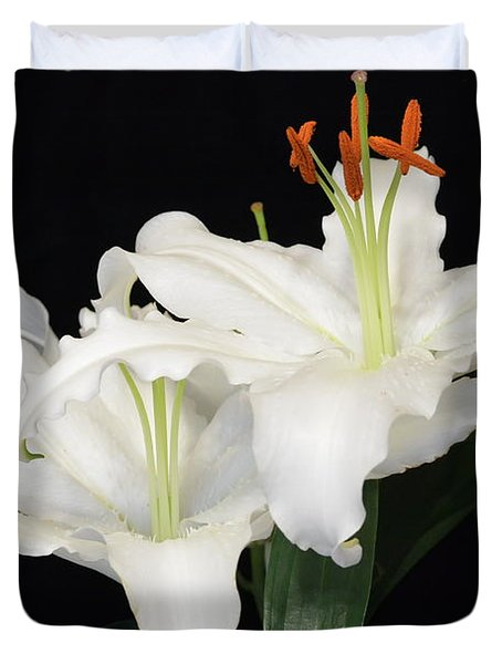 Duvet Cover featuring the photograph White  Lilies by Jeannie Rhode