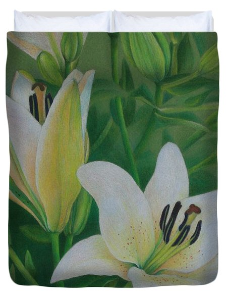 Duvet Cover featuring the painting White Lily by Pamela Clements