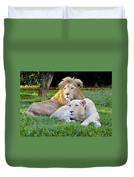 White Lion And Lioness Duvet Cover by Venetia Featherstone-Witty