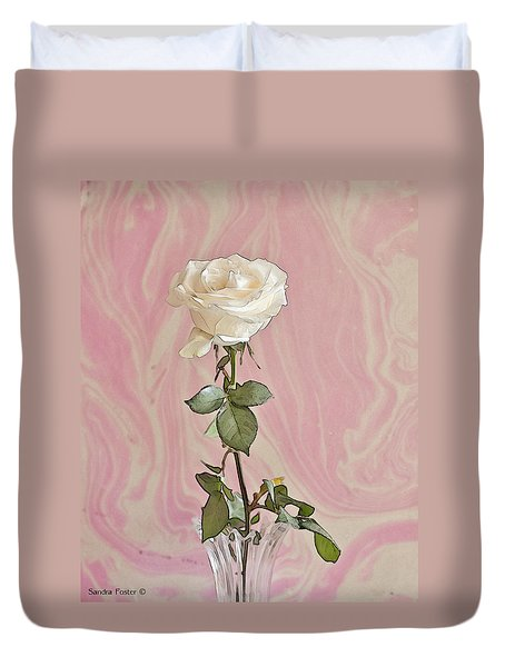 Duvet Cover featuring the photograph White Long Stemmed Rose by Sandra Foster