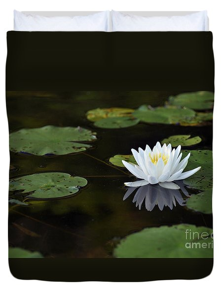 Duvet Cover featuring the photograph White Lotus Lily Flower And Lily Pad by Glenn Gordon