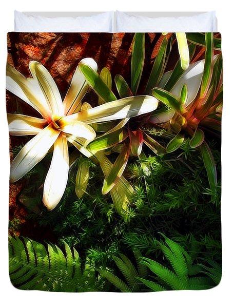White Maui Flowers Duvet Cover by Joan  Minchak