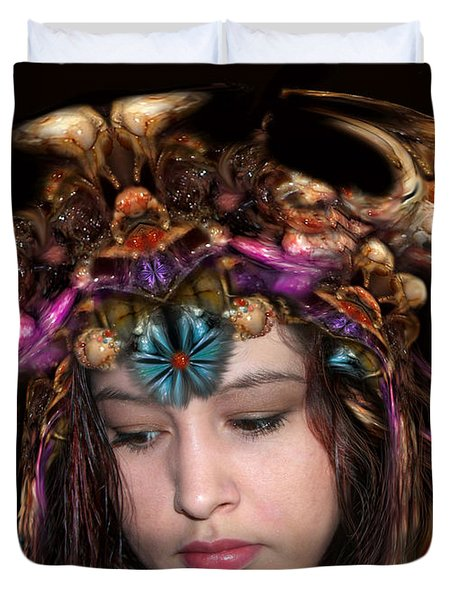 Duvet Cover featuring the digital art White Meat And Bones Tiara by Otto Rapp